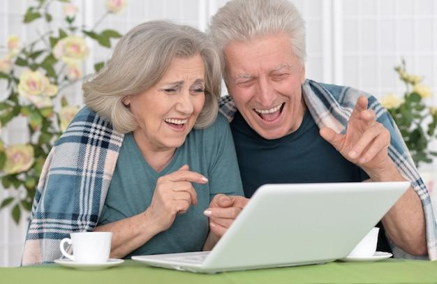 Ritratto di coppia senior con laptop a casa