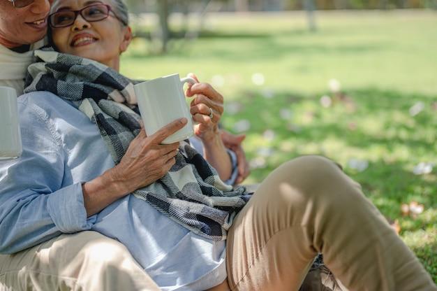 Anziano, coppie, pensione, assicurazione, anziani, concetto di stile di vita. coppie anziane che parlano sul prato all'aperto al mattino dei piani di assicurazione sulla vita con un concetto di pensionamento felice.