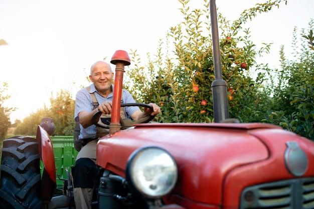 Lavoratore senior alla guida della sua vecchia macchina trattore in stile retrò attraverso il meleto.