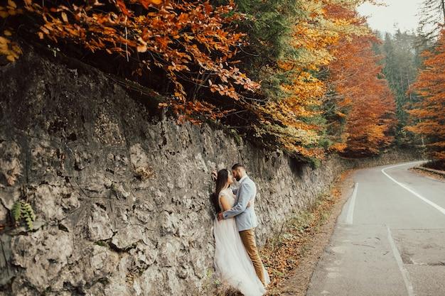 Foto sensuale di sposi sulla strada in montagna con alberi d'autunno.