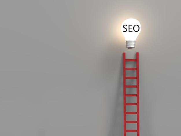 Concetto di seo o concetto di ottimizzazione del motore di ricerca con lampadina idea