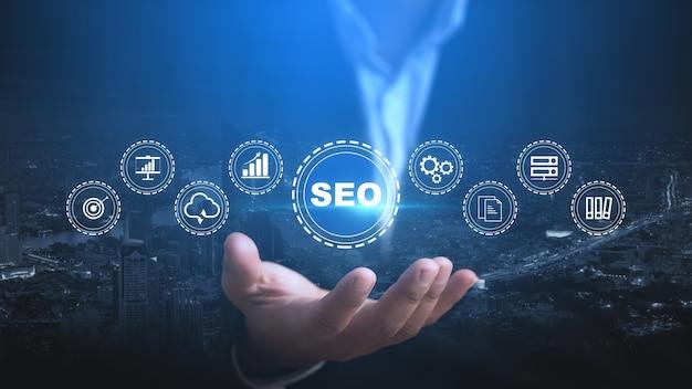 Seo ottimizzazione dei motori di ricerca concetto di tecnologia aziendale di marketing digitale