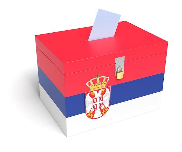 Serbia urne con bandiera serba. isolato su sfondo bianco.