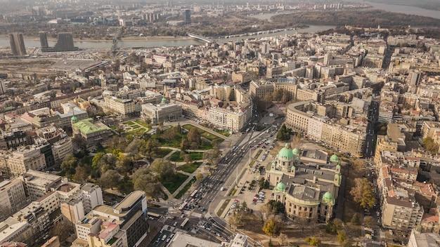 Serbia, belgrado. novembre 2018 - centro città di belgrado. vista aerea