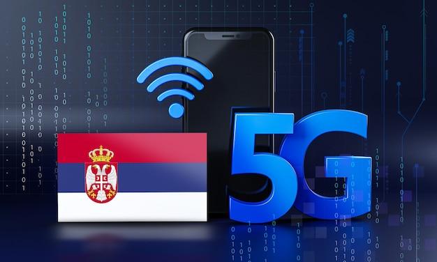 Serbia pronta per il concetto di connessione 5g. sfondo di tecnologia smartphone rendering 3d