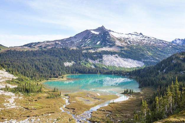 Lago di serenità in montagna nella stagione estiva. bellissimi paesaggi naturali.