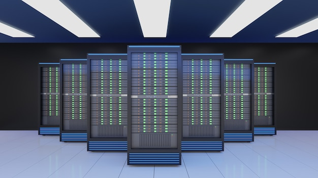 Rack di server nel server di sicurezza internet di rete di computer su sfondo scuro. immagine a colori tema blu. immagine di rendering 3d
