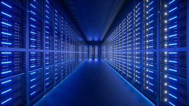 Interno della sala server nel datacenter. rendering 3d