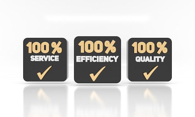 Efficienza del servizio e etichette di qualità etichette di concetto di marketing commerciale per aziende o attività commerciali