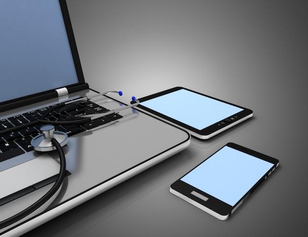 Servizio per la riparazione di laptop. laptop e stetoscopio. illustrazione 3d