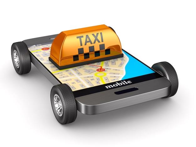 Servizio taxi su sfondo bianco. illustrazione 3d isolata