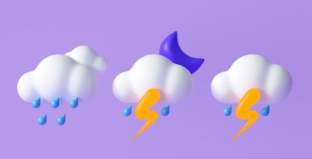 Set di icone meteo 3d per applicazioni di progettazione previsioni e web. illustrazione di rendering 3d.