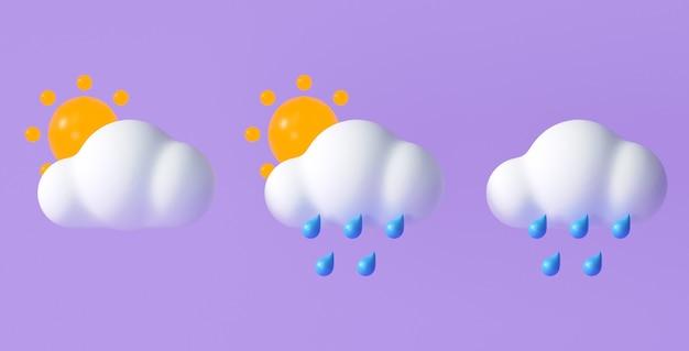 Set di icone meteo 3d per applicazioni di progettazione previsioni e web. illustrazione di rendering 3d. Foto Premium