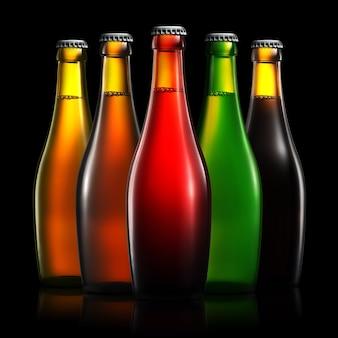 Set di bottiglie di birra con tracciato di ritaglio isolato su sfondo nero sfumato