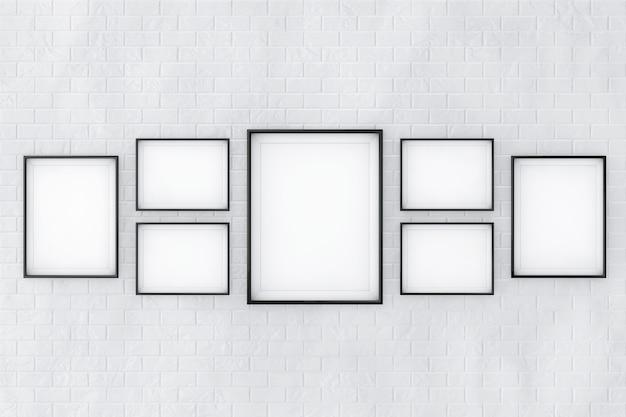 Set di modelli di cornici per foto in bianco davanti al muro di mattoni. rendering 3d