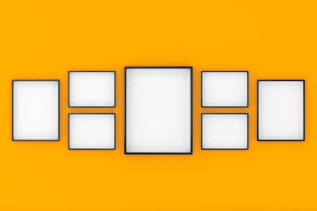 Set di modelli di cornice per foto in bianco su uno sfondo arancione. rendering 3d