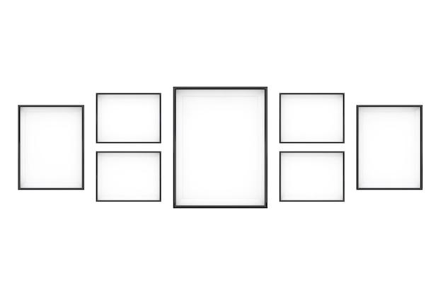 Set di modelli di cornice per foto in bianco su sfondo bianco. rendering 3d