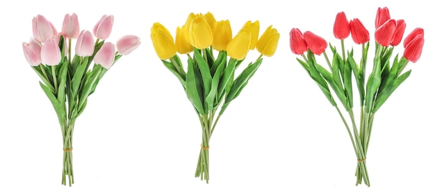 Set di mazzi di tulipani su sfondo bianco isolato fiori gialli e rosa rossi