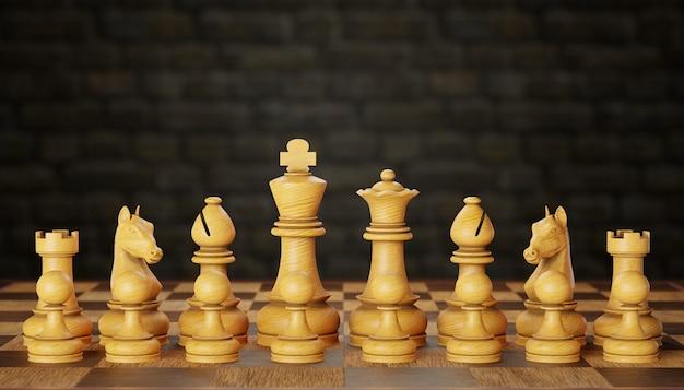 Una serie di pezzi degli scacchi in legno luminoso posizionati su una scacchiera in uno sfondo di muro di mattoni. il concetto di pianificazione della strategia aziendale. copia spazio per testo o articolo. rendering dell'illustrazione 3d.