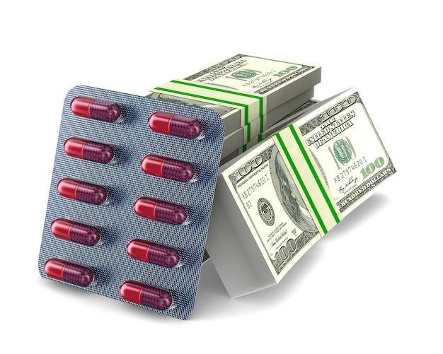 Metta capsule e soldi su uno spazio bianco. illustrazione 3d isolata