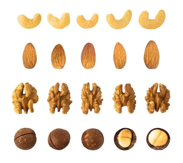 Set di anacardi, mandorle, noci e noci di macadamia isolati su sfondo bianco