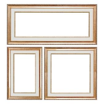 Set di cornici d'epoca in legno closeup con spazio vuoto per il tuo design isolato su uno sfondo bianco