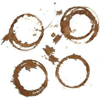 Set di macchie di caffè sulla tovaglia in tessuto isolato su sfondo bianco