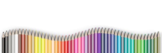 Set di matite colorate isolati su sfondo bianco.