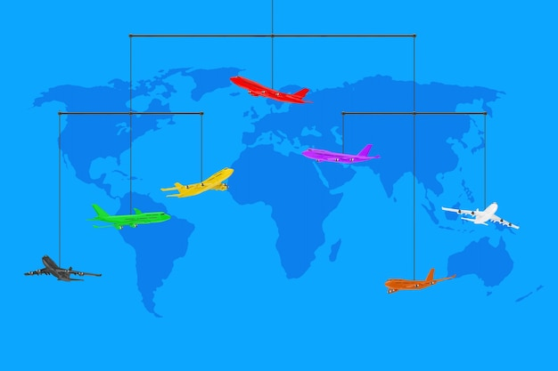 Set di corda di aeroplani del passeggero jet colorato appeso su uno sfondo blu con mappa del mondo. rendering 3d