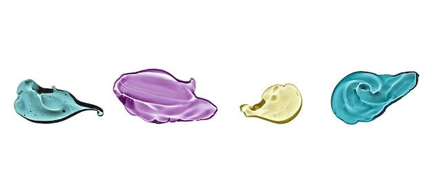 Set di gel cosmetico isolato su sfondo bianco. collage di campioni di siero trasparenti di diversi colori. concetto di prodotto per la cura della pelle.