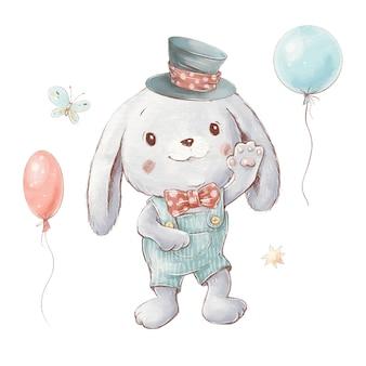 Set di coniglietto simpatico cartone animato in un cappello con palloncini.