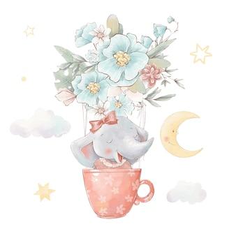 Set di elefante simpatico cartone animato in mongolfiera. illustrazione ad acquerello