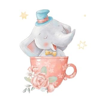 Set di elefante simpatico cartone animato in mongolfiera. illustrazione dell'acquerello.