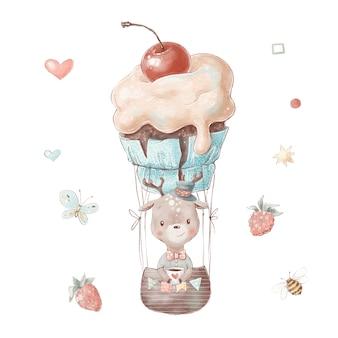 Set di fulvo simpatico cartone animato in mongolfiera a forma di torta.