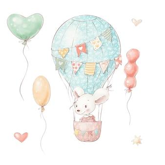 Set di topo simpatico cartone animato in un palloncino e bandiere.