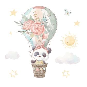 Set di panda simpatico cartone animato. illustrazione dell'acquerello.