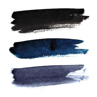 Set di pennellate scure isolate su sfondo bianco