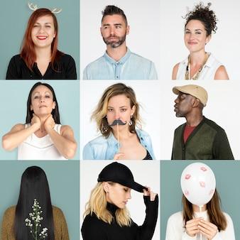 Insieme del collage dello studio di stile di vita di espressione del fronte della gente di diversità
