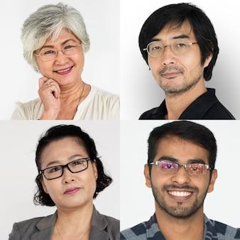 Insieme della gente di diversità che indossa il collage dello studio degli occhiali