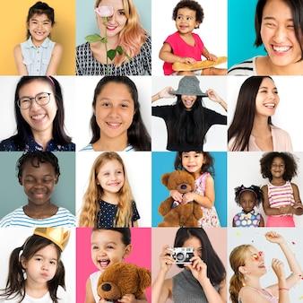 Insieme del collage dello studio di stile di vita di espressione del fronte delle donne di diversità