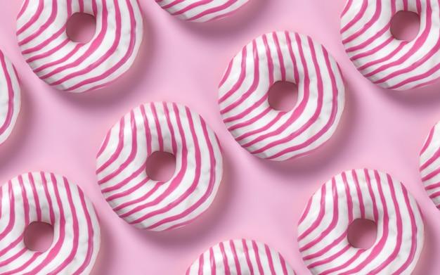 Set di ciambelle su sfondo rosa pastello, stile contemporaneo minimalismo