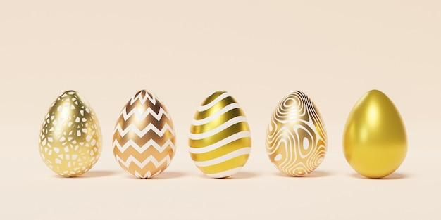 Set di uova di pasqua decorate con trame dorate e motivi sulla parete beige, vacanze di primavera aprile, rendering 3d illustrazione