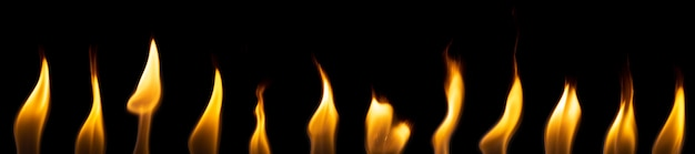 Set di fiamme isolati su sfondo nero. fuoco