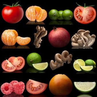 Set da frutta e verdura su sfondo nero