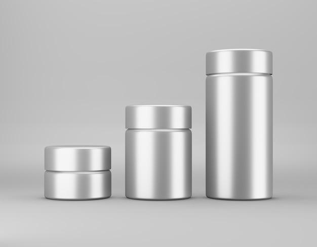 Insieme del modello lucido del barattolo del metallo su fondo grigio. confezione modello alimentare, cosmetica, chimica di diverse dimensioni grande, media, piccola. rendering 3d