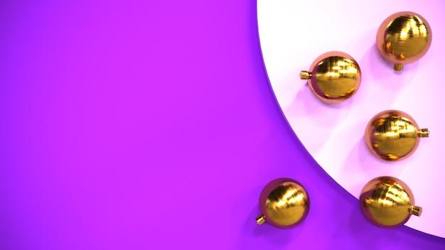 Set di palloncini di natale oro su sfondo viola
