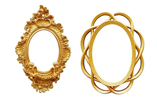 Set di cornice d'epoca ovale dorata isolata su sfondo bianco