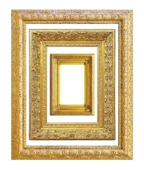 Set di cornice vintage dorata su sfondo bianco