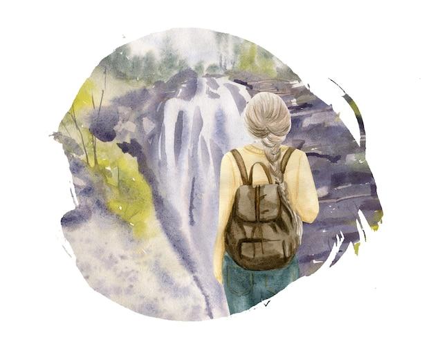 Impostare un gruppo di giovani turisti che viaggiano persone con zaino da viaggio e mappa, andando in vacanza