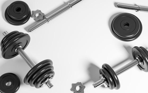 Set di manubri professionali neri pesanti per fitness e bodybuilding su fondo bianco. vista dall'alto con copia spazio al centro della cornice. illustrazione di rendering 3d.